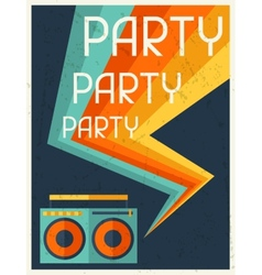 Party retro poster in flat design style vector image vector image