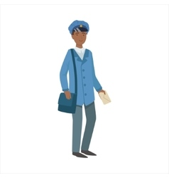 Postman With Handbag Part Of Happy People And vector image vector image
