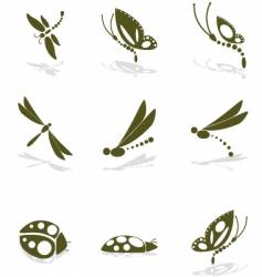 bug icons vector image vector image