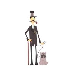 English Gentleman With Bulldog vector image vector image