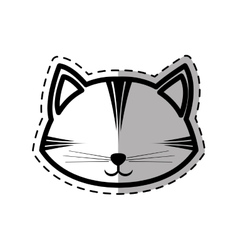 face cat feline curious small dot line shadow vector image vector image