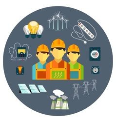 Power station energy icons vector image vector image