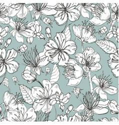 realistic sakura hand drawn seamless pattern with vector image