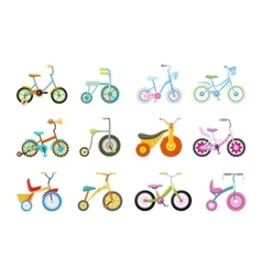Set of Kids Bicycles and Tricycles vector image