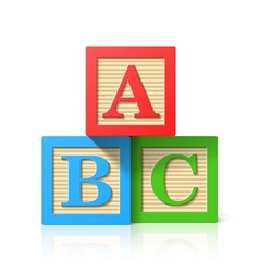 Wooden alphabet cubes with ABC letters vector image vector image
