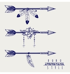 Boho style arrows feathers and flowers vector image