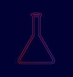 conical flask sign line icon with vector image