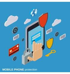 Mobile phone protection computer security vector image