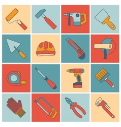 Repair construction tools flat line vector image