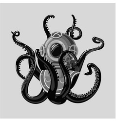vintage diving suit with octopus retro scuba vector image