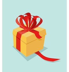 Cartoon Gift box with ribbon bow and blank tag vector image