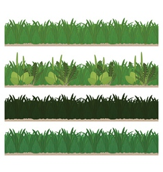 Collection of seamless green grass vector image vector image