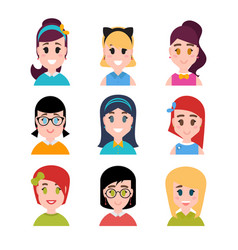 stylized beautiful young girls and women female vector image