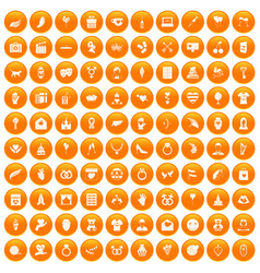 100 heart icons set orange vector