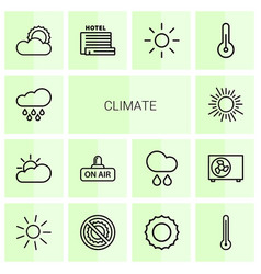 14 climate icons vector image