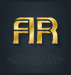 A and r initial golden logo ar - metallic 3d icon vector