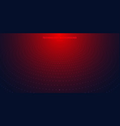 Abstract red radial dots pattern halftone on dark vector