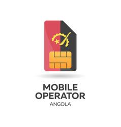 Angola mobile operator sim card with flag vector