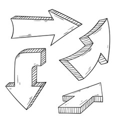 arrows hand drawn doodle vector image