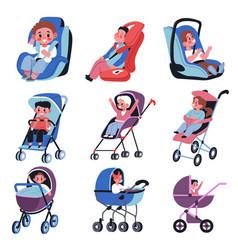 Babies in perambulators and children car seats vector