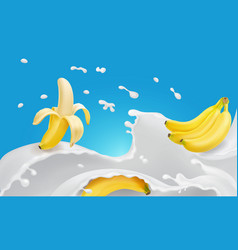 banana and flavored milk splash or yogurt vector image