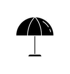 Beach umbrella black glyph icon vector