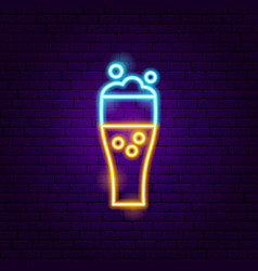beer glass neon sign vector image