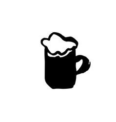 Beer grunge ink icon beer glass watercolor dry vector