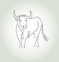 Bull in a minimal line style vector image