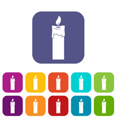 Candle icons set flat vector