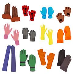 cartoon color woolen mittens different types set vector image