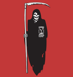 Cartoon death with scythe and hourglass vector