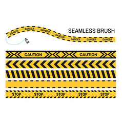 Caution police tapes seamless brush stop yellow vector