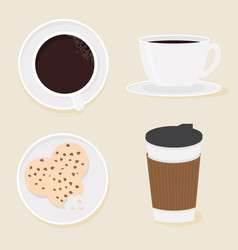 coffee and cookies collection flat style eps10 vector image