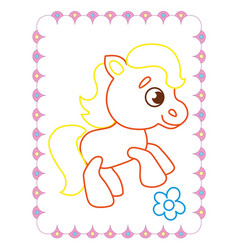 coloring book of cute funny animal horse vector image