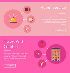 comfort travel and room service set of banner vector image