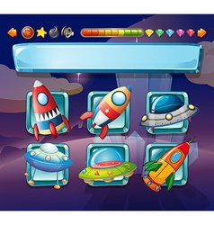 Computer game template with spaceships vector image