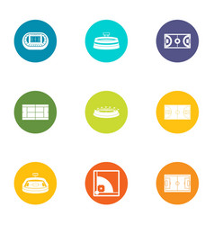 Court icons set flat style vector