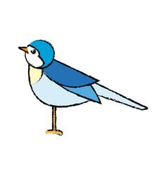 Cute bird in a winter christmas image vector