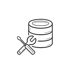 Database with wrench and screwdriver hand drawn vector