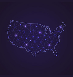 digital network map of united states abstract vector image