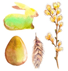Easter watercolor collection with rabbit egg vector