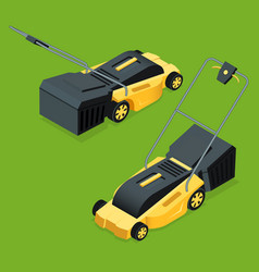 electric yellow lawn mower in summertime lawn vector image