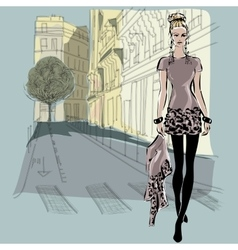 Fashion models in sketch style with Paris city vector image
