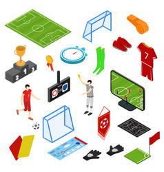 football or soccer game icons set isometric view vector image
