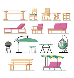 Garden furniture table chair seat charcoal vector