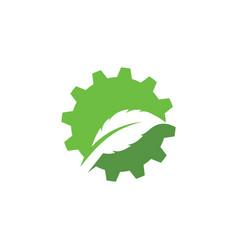Gear leaf icon design vector