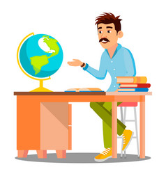 geography teacher in glasses sitting at table with vector image
