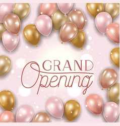 Grand opening message and balloons helium vector