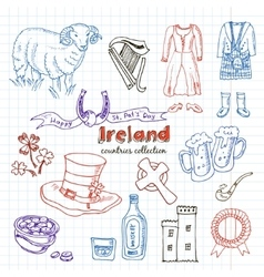 Hand drawn doodle Ireland symbols set vector image